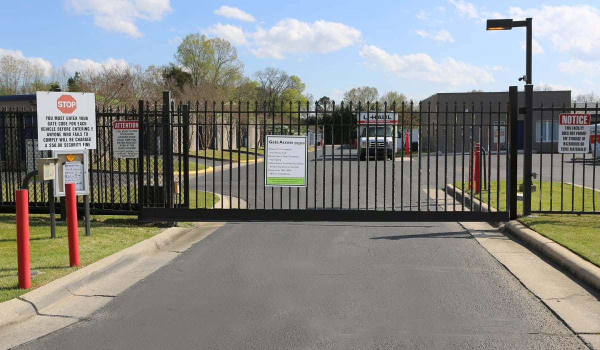 Gated entrance at Midgard Self Storage in Midland, North Carolina