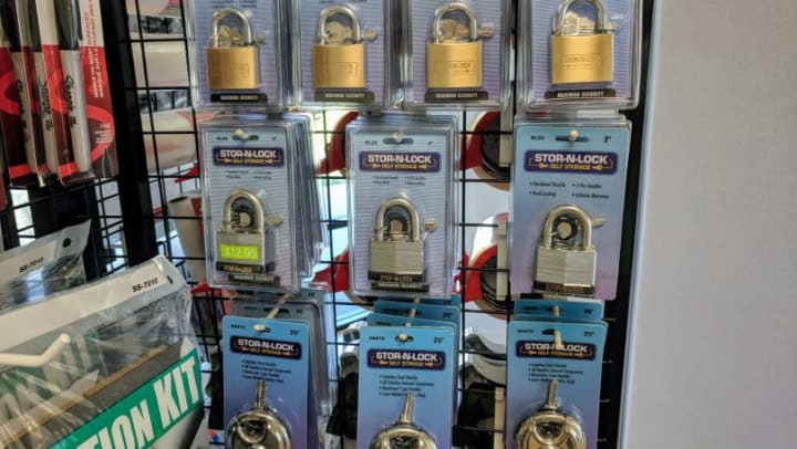 Locks and other storage supplies available at STOR-N-LOCK Self Storage