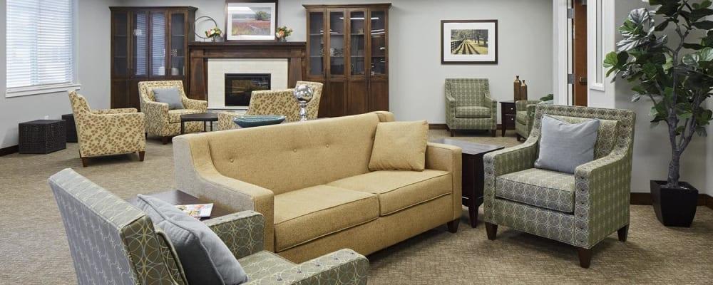 Upscale living room in a senior apartment at The Springs at Veranda Park in Medford, Oregon