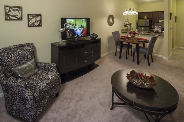 Tv room at Waltonwood University in Rochester Hills, MI