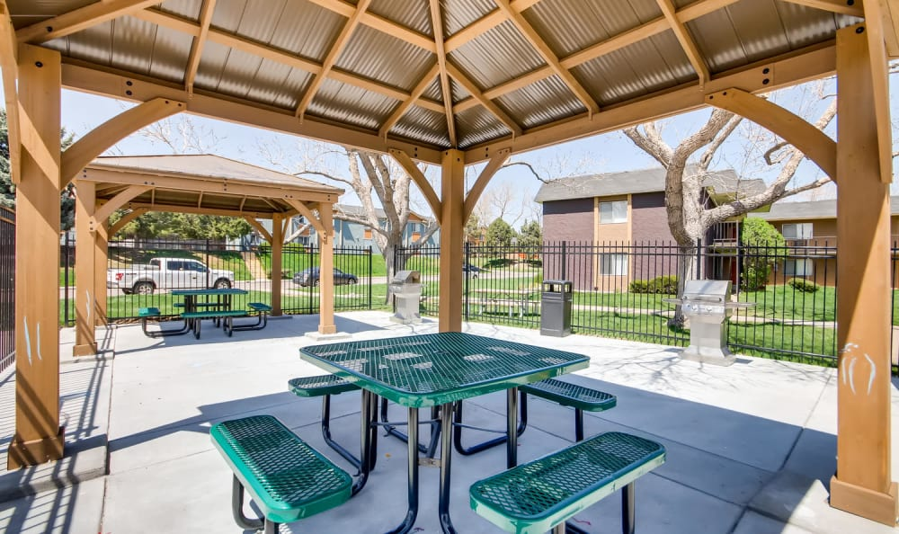 Outdoor bbq area at Mountain Vista in Lakewood, Colorado