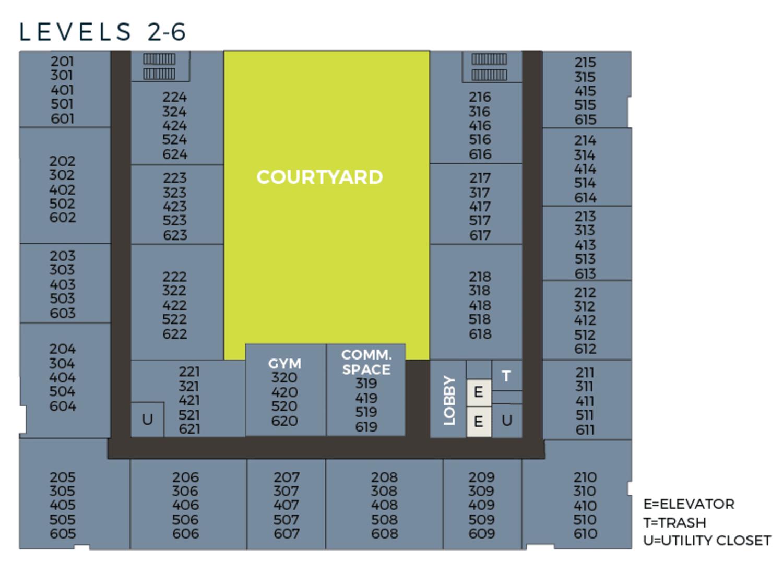 Community site map for Tower 737 Condominium Rentals in San Francisco, California