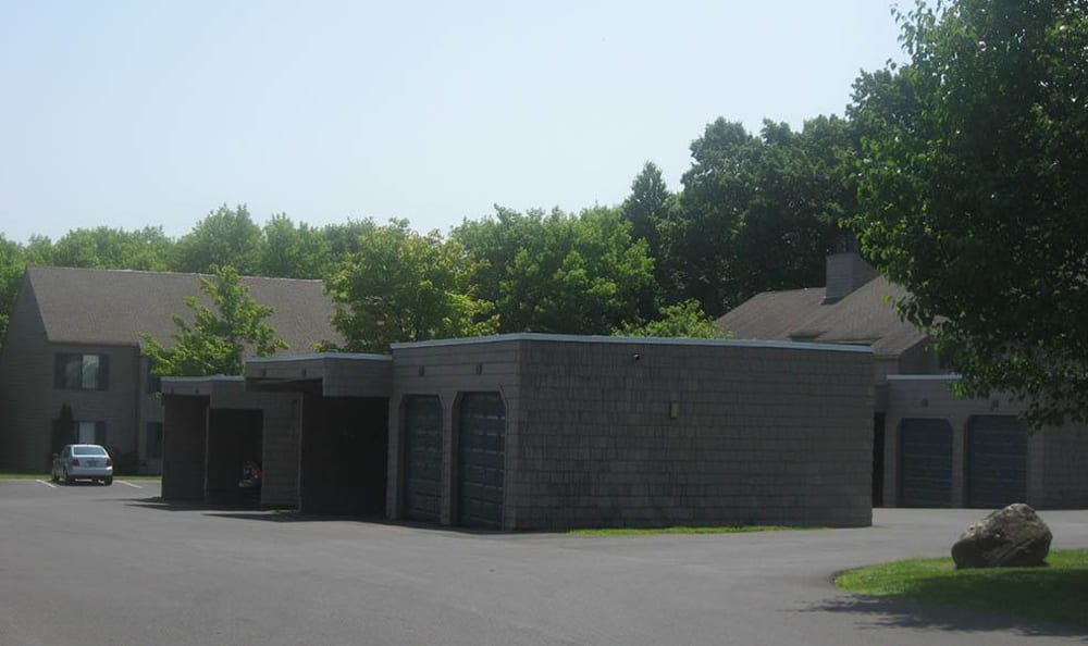 Exterior view of Steeplechase Apartments' community in Camillus, New York