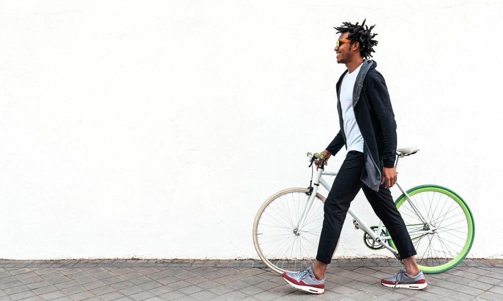 Resident out exploring town on his bike near High Ridge Landing in Boynton Beach, Florida