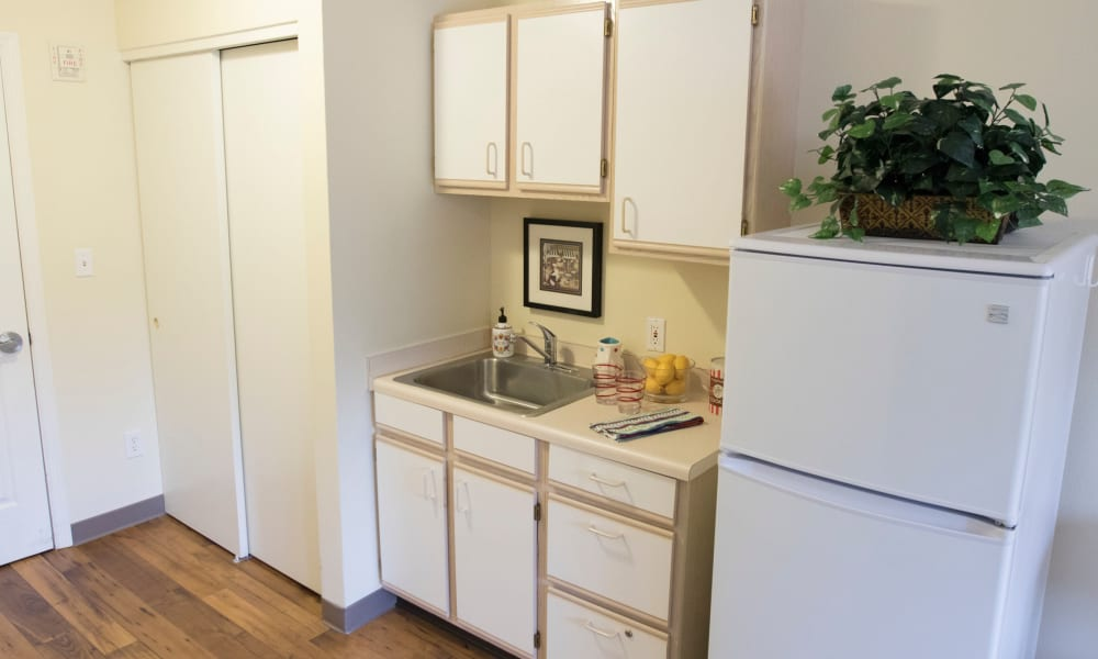 An apartment kitchen at The Legacy at Southpointe Drive in Greenville, South Carolina
