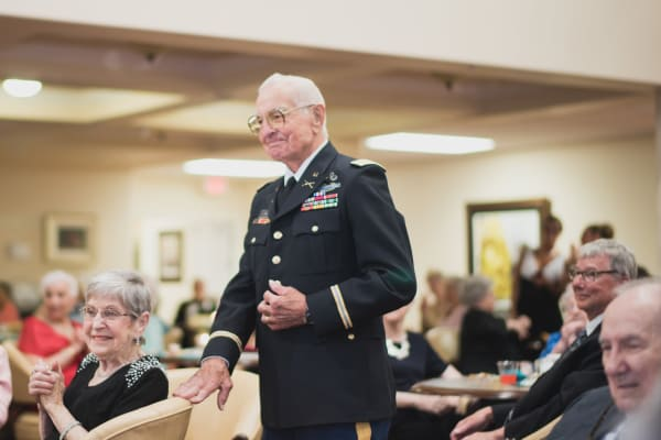 A veteran resident in uniform at Meadowlark Estates Gracious Retirement Living in Lawrence, Kansas