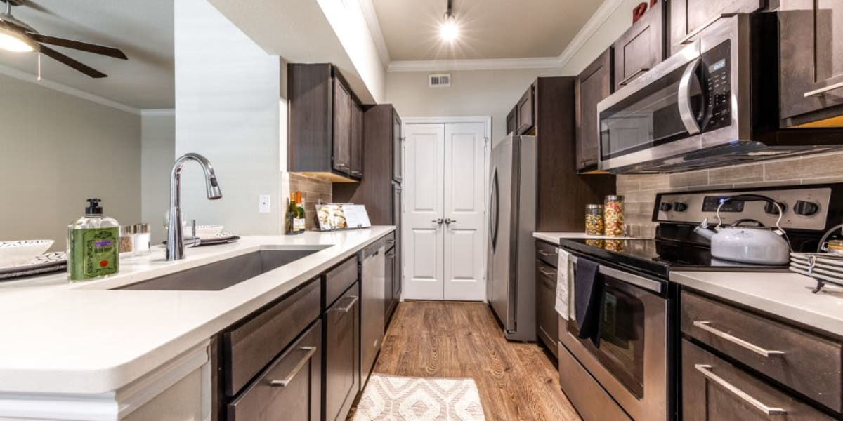 Model kitchen at Marquis on Memorial in Houston, Texas