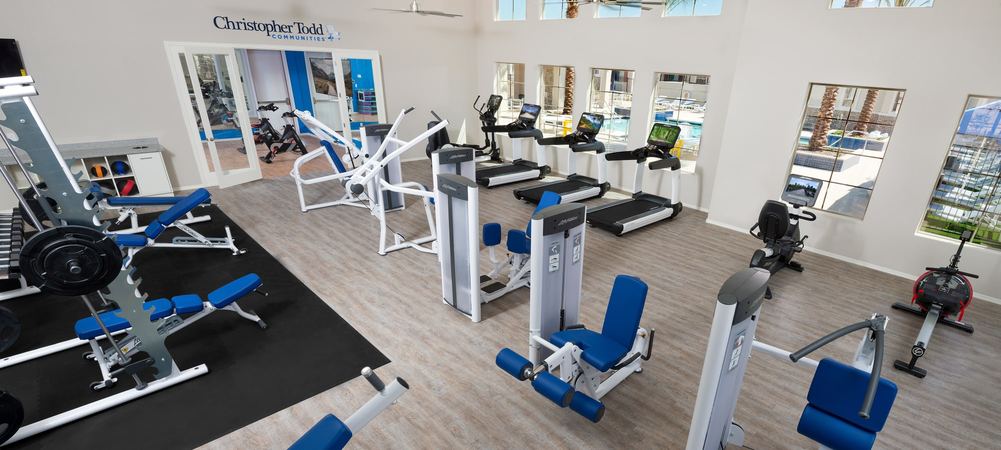 Fitness center and yoga studio at Christopher Todd Communities At Estrella Commons in Goodyear, Arizona