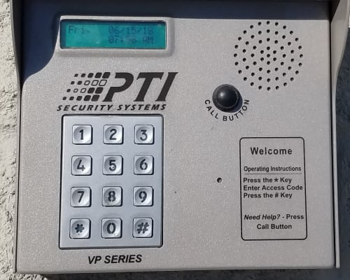A security keypad at Global Self Storage in Millbrook, New York