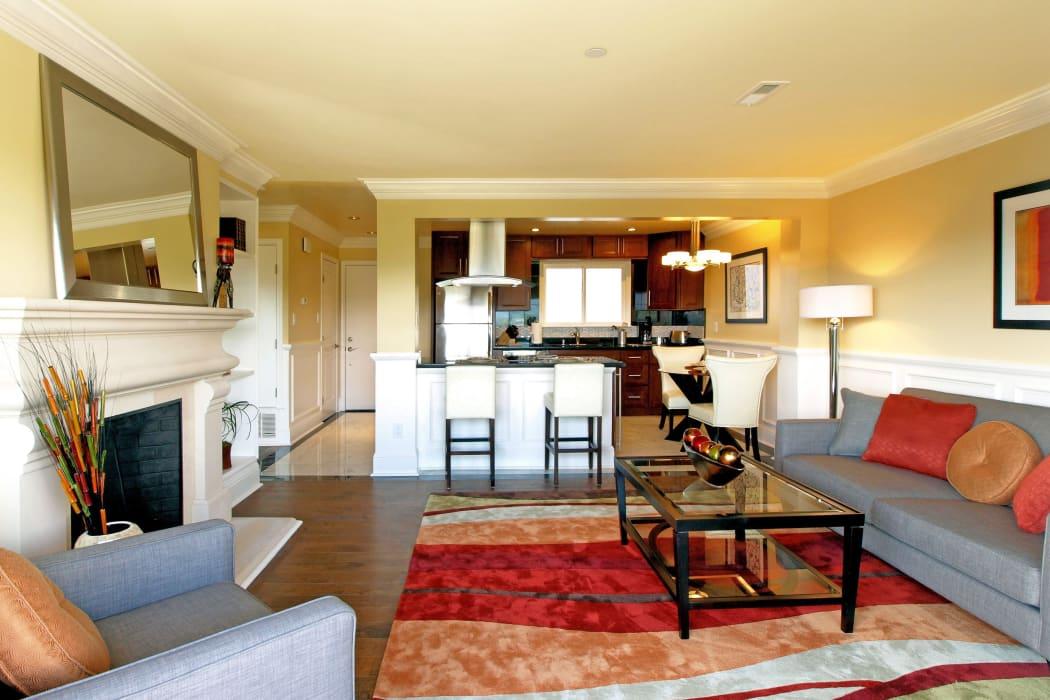 Spacious living room at Palmetto at Tiburon View in Tiburon, California