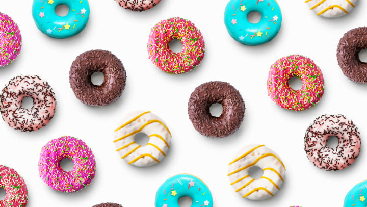 Brightly colored donuts on a white background