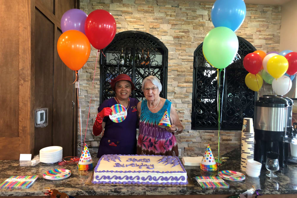 Birthday celebration out on the patio at Merrill Gardens at ChampionsGate in ChampionsGate, Florida.