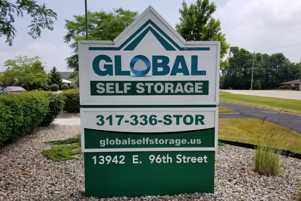 Front signage at Global Self Storage in McCordsville, Indiana