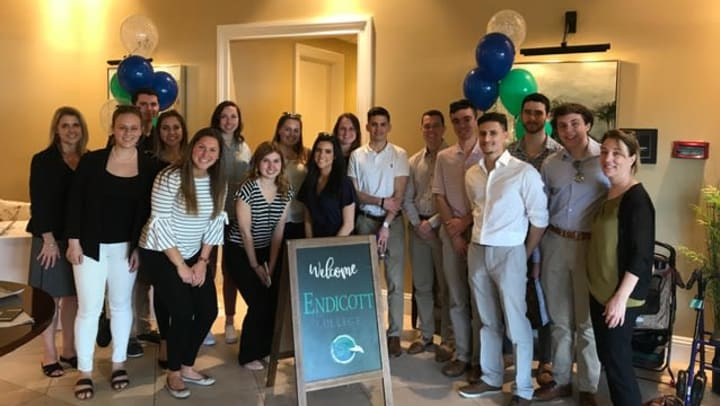 Pictured here: Sixteen students from Endicott College's DECA organization explore the inner workings of the senior living industry by way of a new partnership between the College and Discovery Senior Living