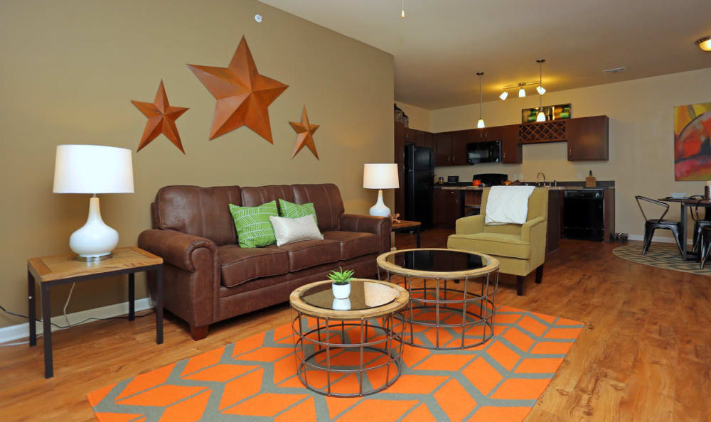 Open Concept Living Room At Springs at Woodlands South Apartments In Tulsa