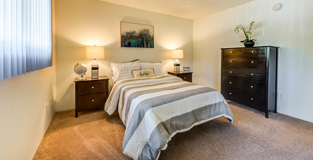 Model bedroom at The Terrace in Tarzana, California