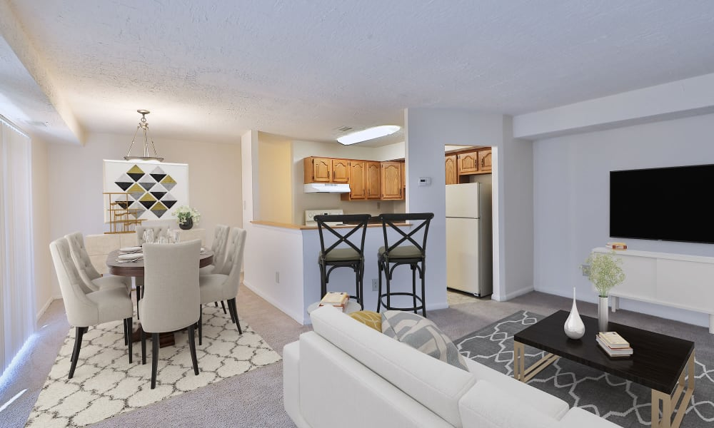 Living room at Morningside Apartments & Townhomes in Owings Mills, Maryland