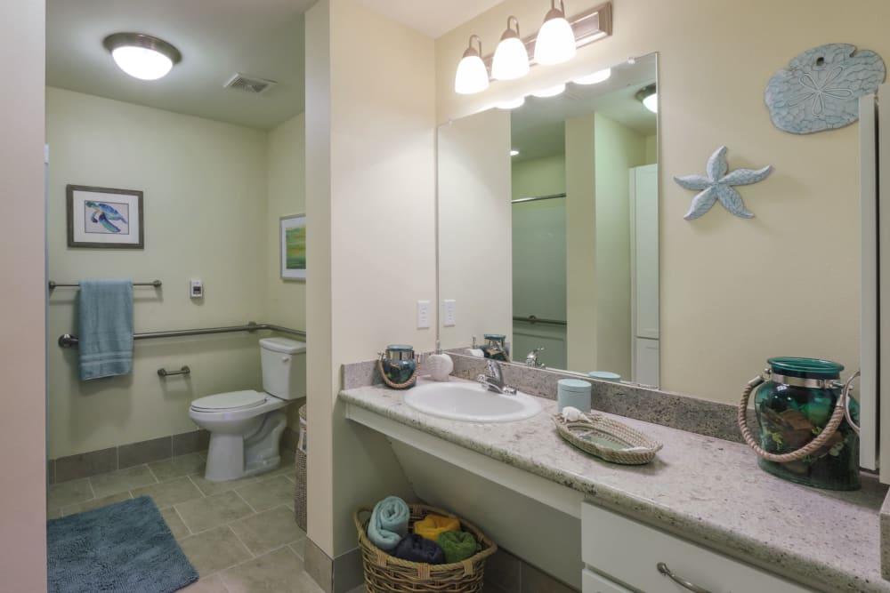 An apartment bathroom at The Village of the Heights in Houston, Texas