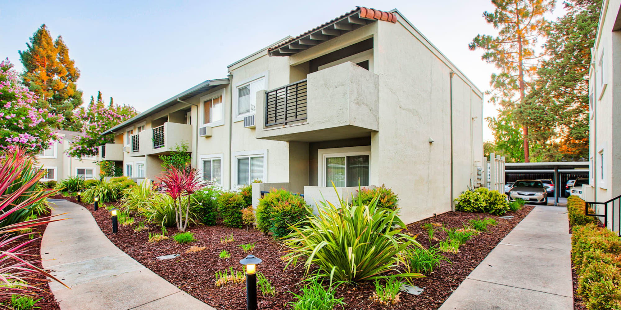 Professionally managed landscaping and pathways between resident buildings at Pleasanton Place Apartment Homes in Pleasanton, California