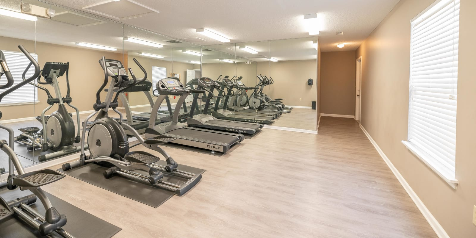 Fitness center with treadmills at The Village at Brierfield Apartment Homes in Charlotte, North Carolina