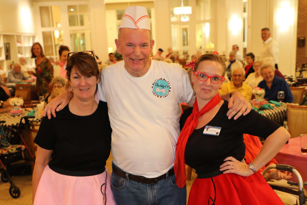 Friends and resident at the Merrill Gardens at Madison Sock Hop
