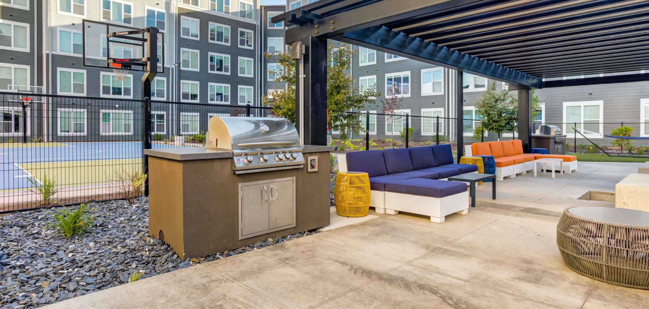Outdoor BBQ Area at LATITUDE at River Landing in Coralville, Iowa
