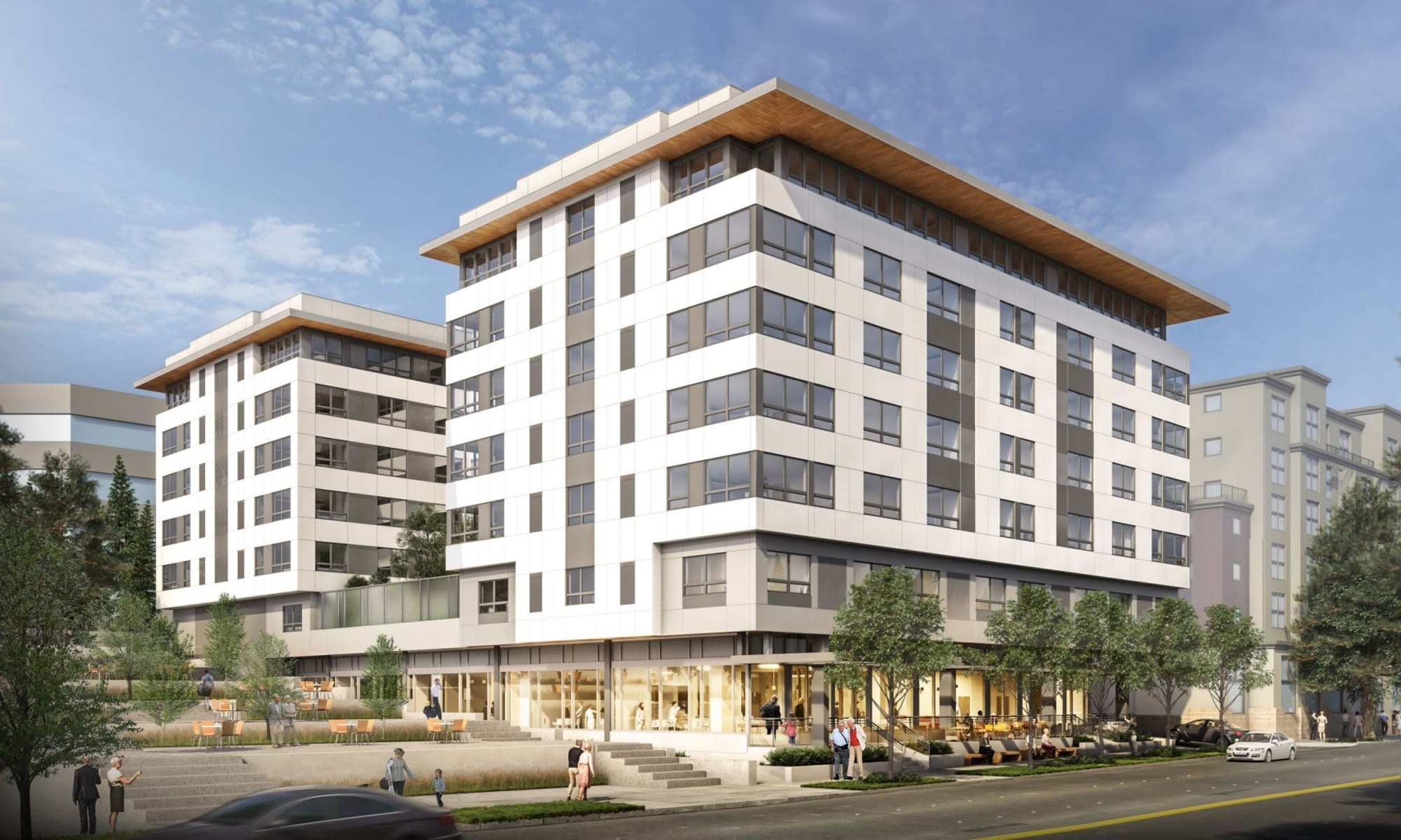 Artist rendering of the west face of resident apartment building at Holden at Bellevue in Bellevue, Washington