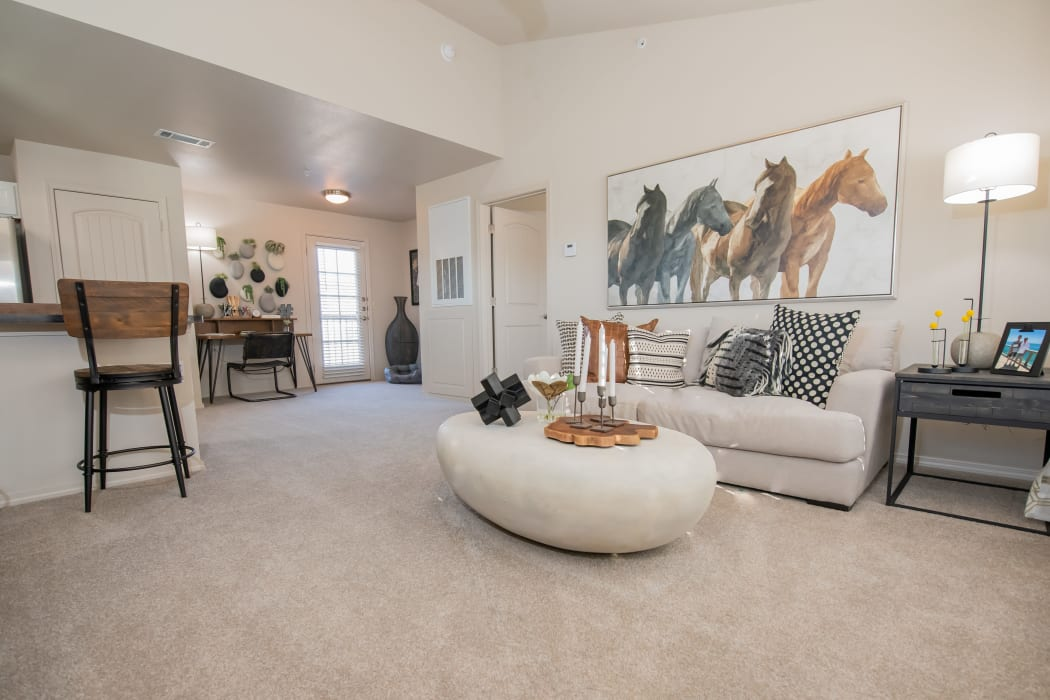 Large loft living area at Portico at Friars Creek Apartments in Temple, Texas