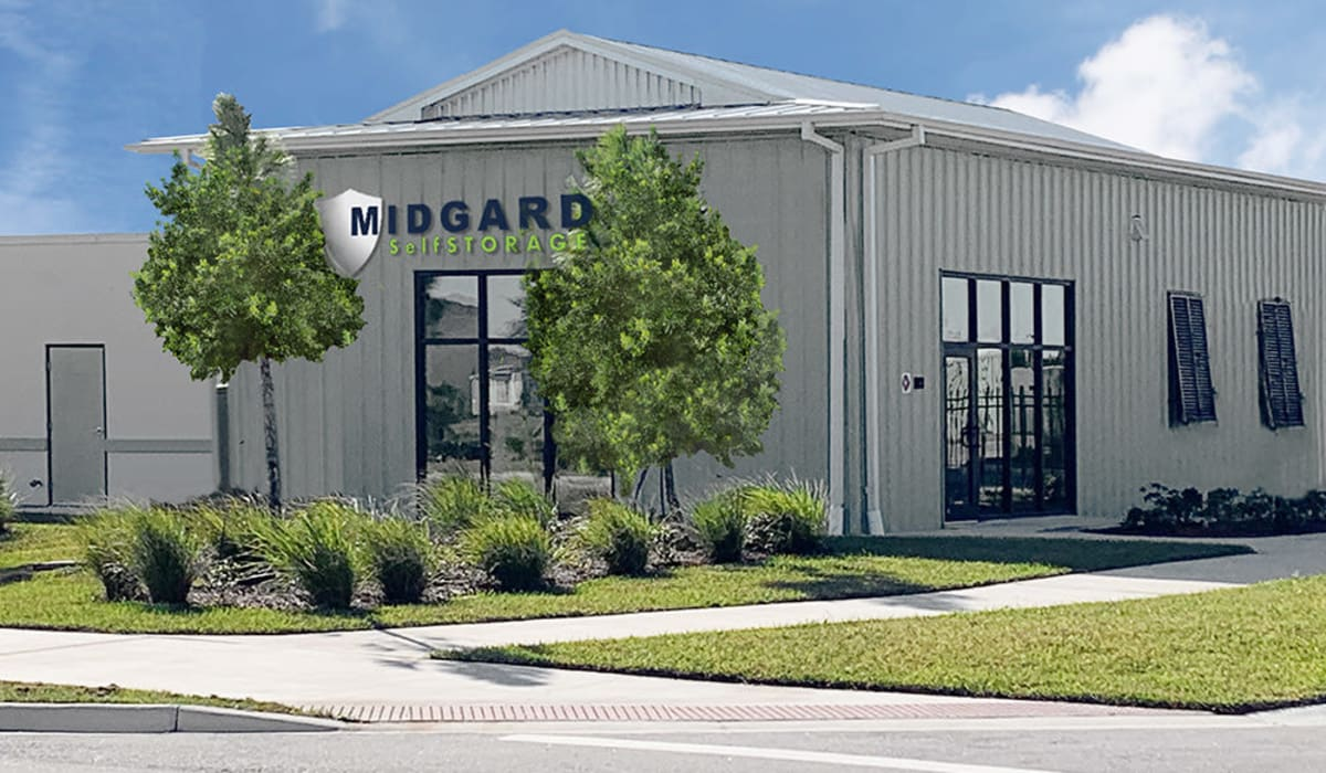 Outside of the office at Midgard Self Storage in Melbourne, Florida