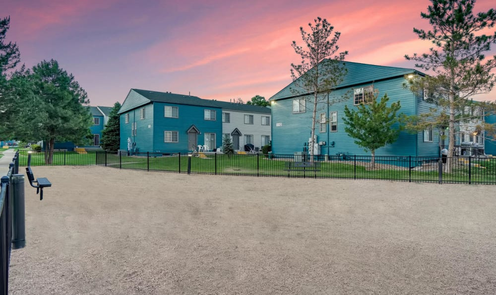 Onsite dog park at Stratus Townhomes in Westminster, Colorado