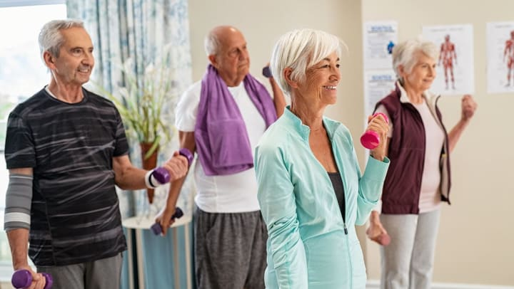 Group of seniors in a fitness class