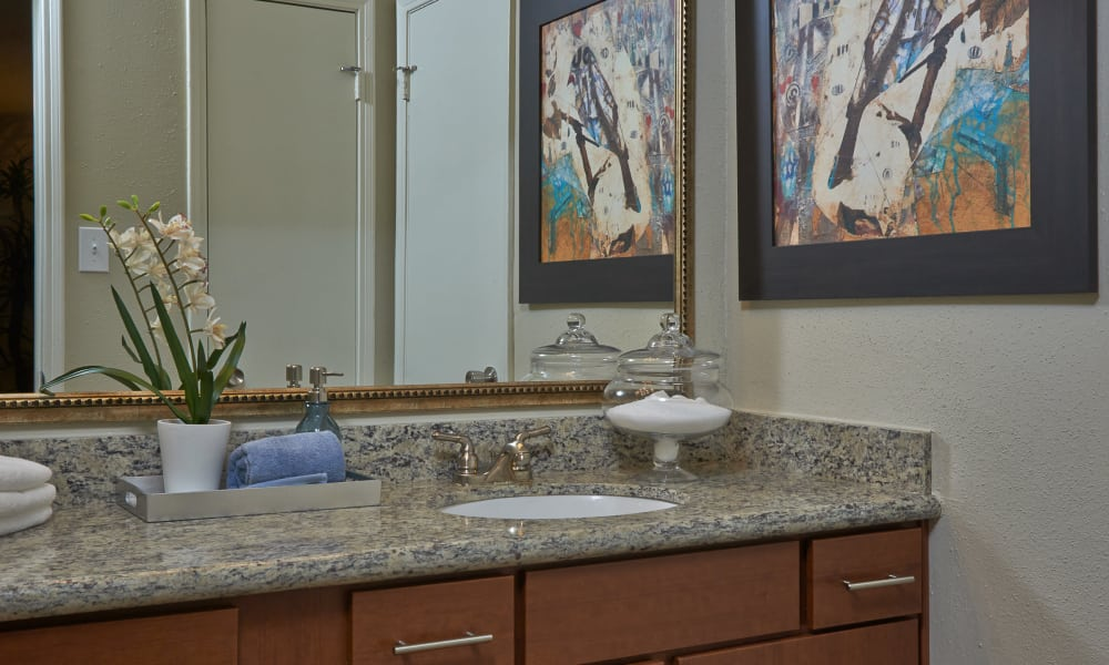 Bathroom with granite counter tops at Seventeen15 in Houston, Texas