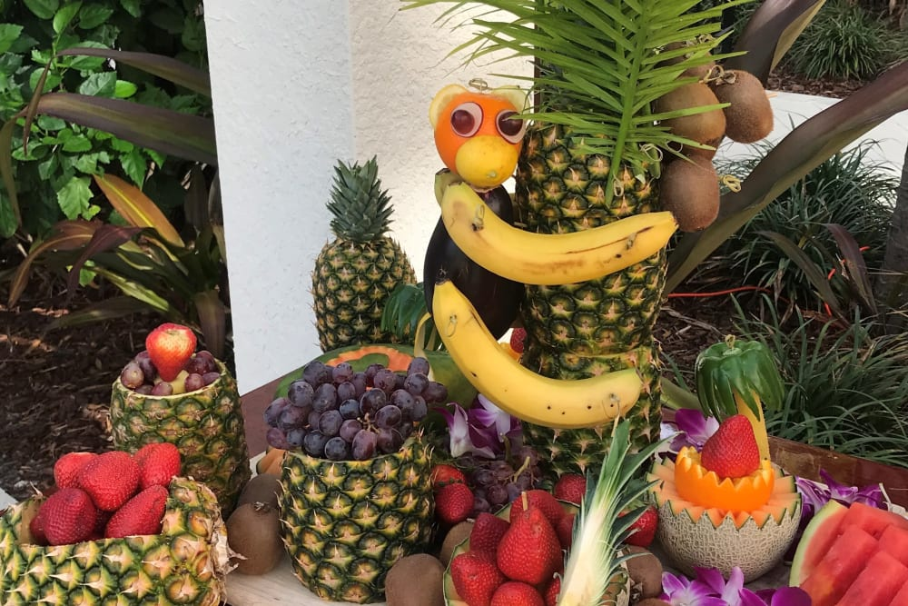 Executive Chef fruit display at Spring Luau event