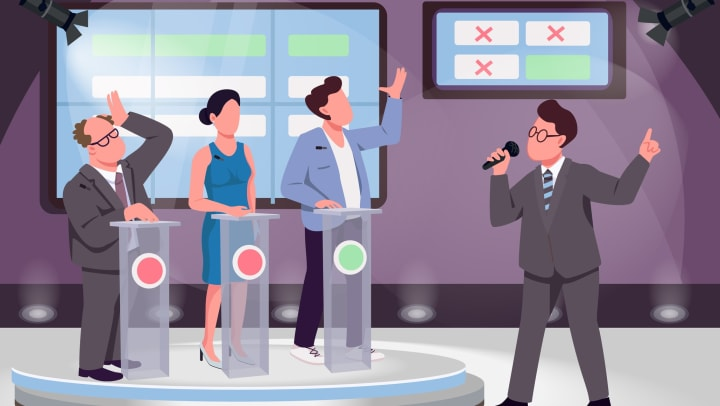 An illustration with a game host and three contestants with a stage in the background