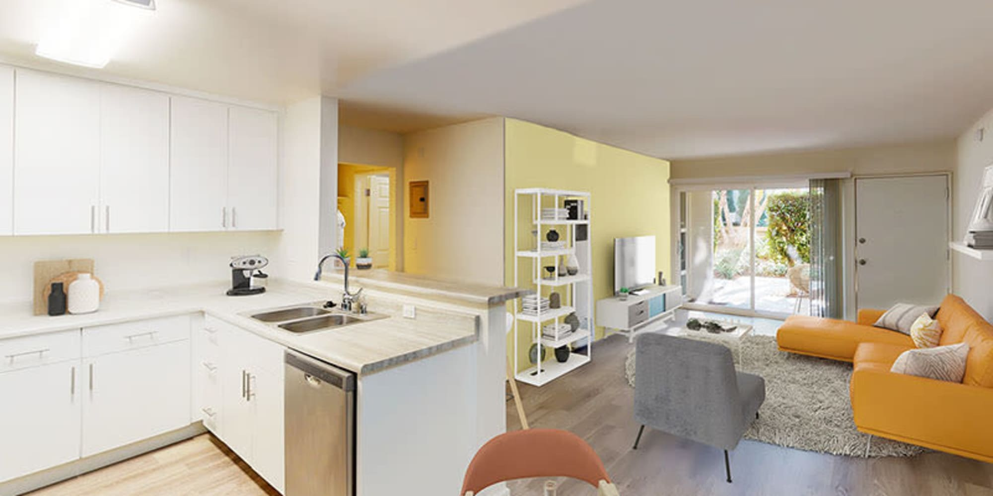 Open layout of a one bedroom apartment at West Park Village in Los Angeles, California