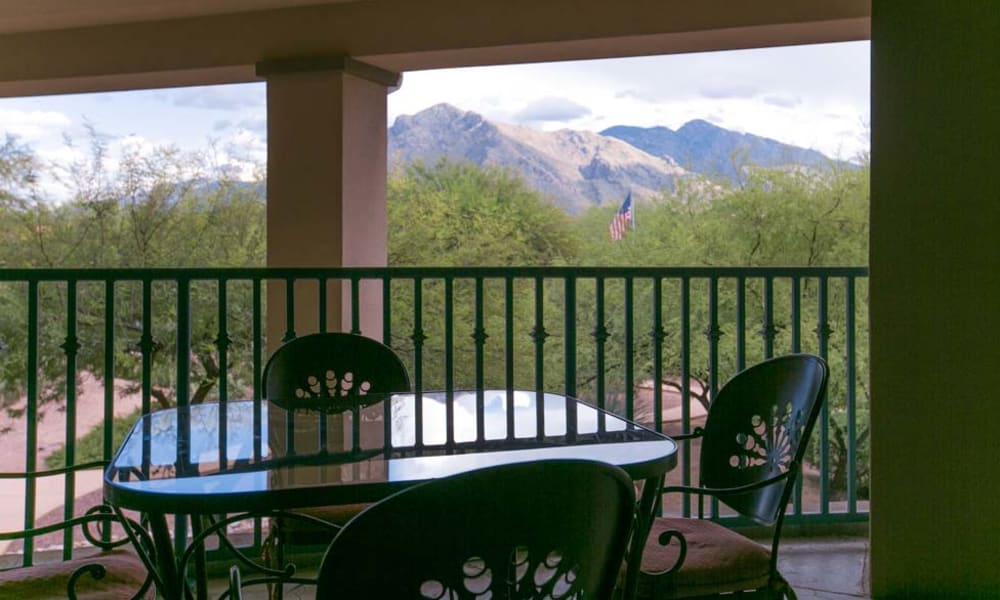 Gorgeous mountain views from a balcony at Mountain View Retirement Village in Tucson, Arizona