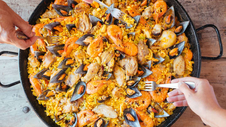 Photo of paella for blog post at Olympus on Broadway in Carrollton, Texas