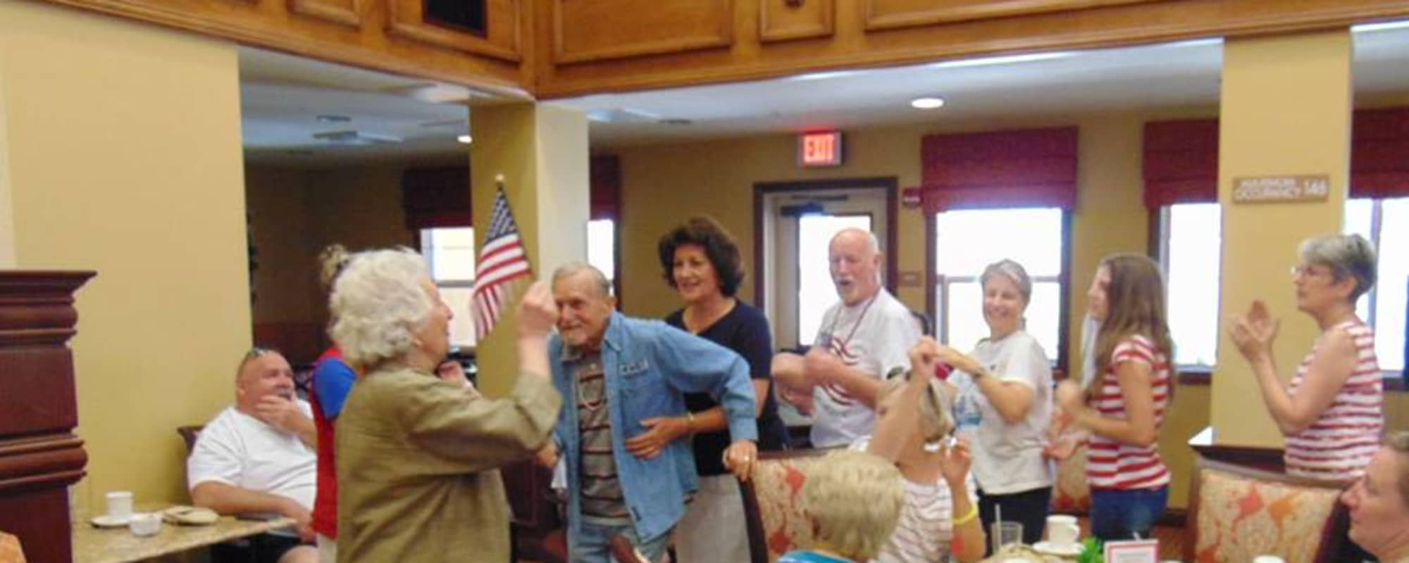 Seniors dancing at Estancia Del Sol in Corona, California
