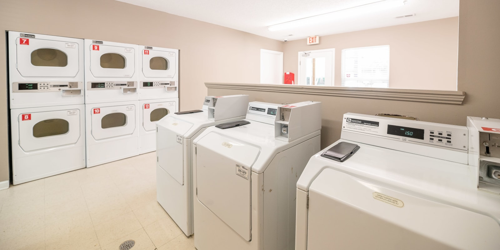 An onsite laundry facility at The Village at Brierfield Apartment Homes in Charlotte, North Carolina