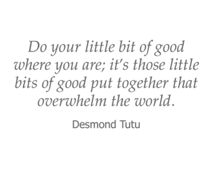 Desmond Tutu quote for Reflections at Garden Place in Columbia, Illinois