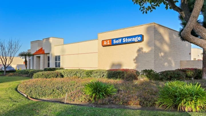 The side view of A-1 Self Storage in Huntington Beach, California, located on Gothard St, just north of Slater Avenue.