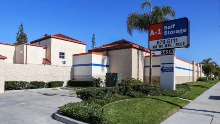 The front entrance to A-1 Self Storage in Fullerton, California, where Melissa works.