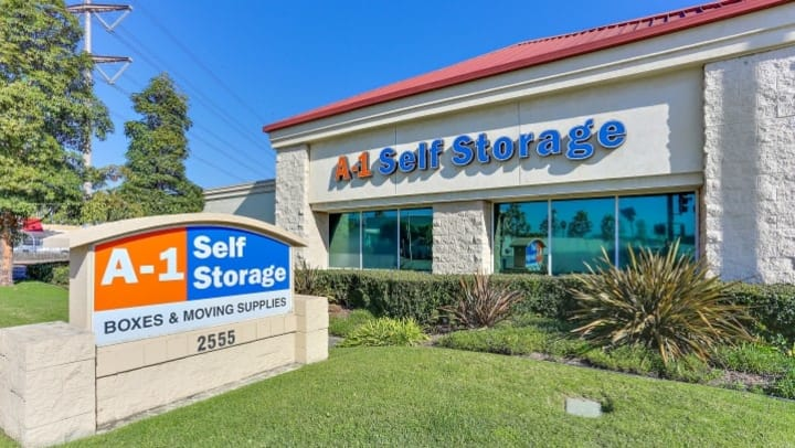 The front signage and office for A-1 Self Storage at 2555 South Main St, Santa Ana, CA, 92707.