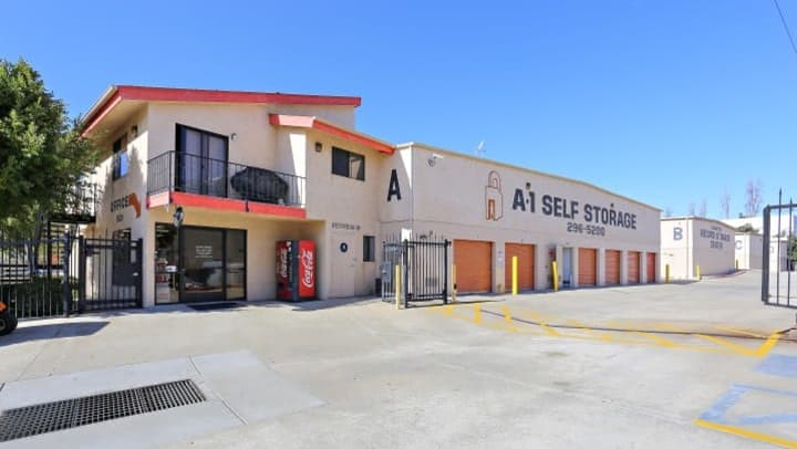 An outside view of the front office of A-1 Self Storage in Fashion Valley in San Diego, California.