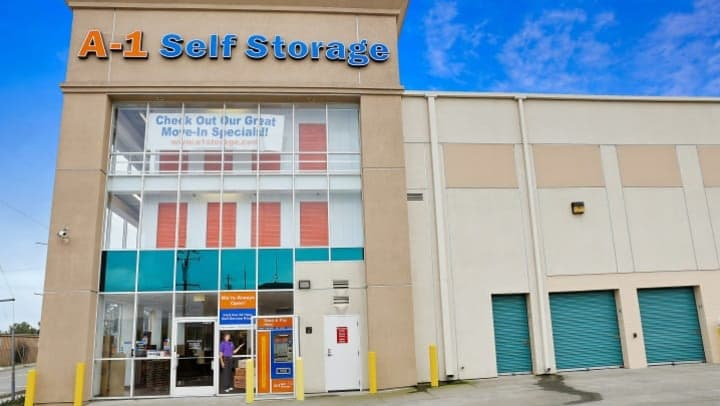 A view of the front entrance of A-1 Self Storage on High St in Oakland, California.