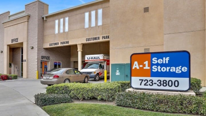 The front entrance and customer parking at A-1 Self Storage at Baroni Ave and Capitol Expressway in San Jose, CA.