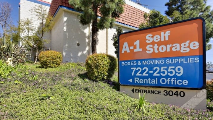 A view of the front signage at A-1 Self Storage at 3040 Oceanside Boulevard in Oceanside, California.