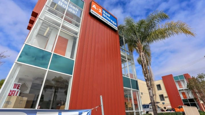 The front facade of A-1 Self Storage on Pacific Highway in Midtown San Diego, California.