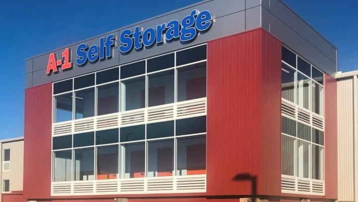 The front facade of A-1 Self Storage in National City, California.
