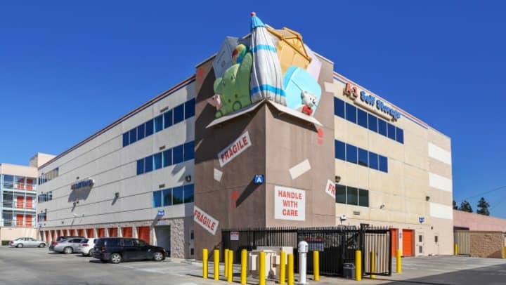 The front facade of A-1 Self Storage on Vineland in North Hollywood features a unique self storage-themed art installation.